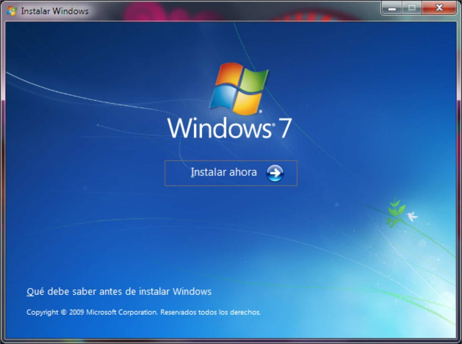 Windows 7, pantalla de instalacion